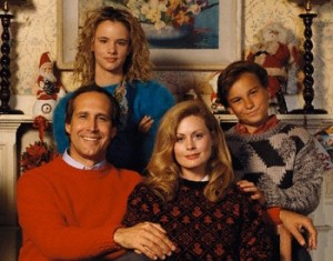 1989 --- Johnny Galecki, Beverly D'Angelo, Juliette Lewis and Chevy Chase as the Griswold family in . --- Image by © Steve Schapiro/Corbis